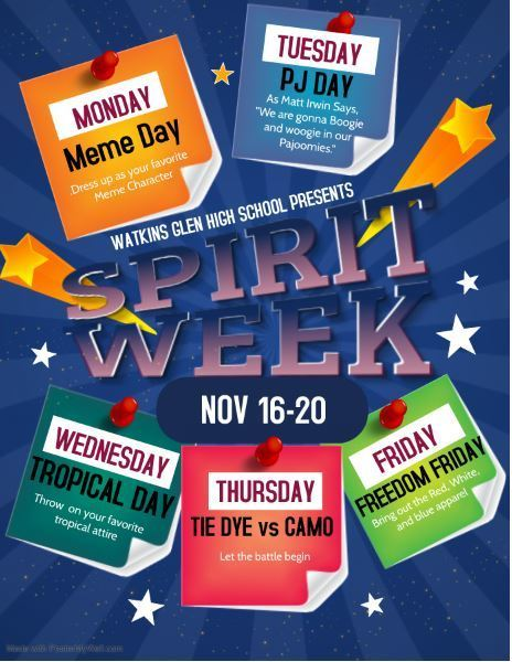 Spirit Week Nov 16-20