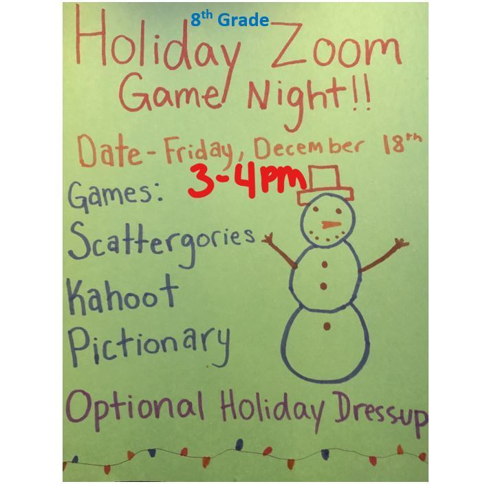 8th Grade Holiday Zoom Game Night